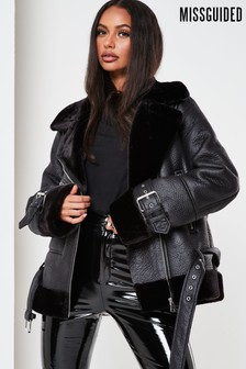 Missguided Premium Zip Detail Aviator Jacket