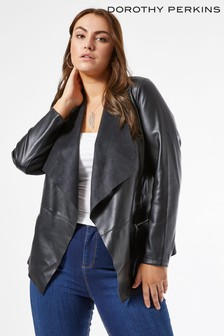 Dorothy Perkins Curve Faux Leather Waterfall Jacket