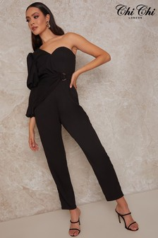 Chi Chi London Puff Sleeve One Shoulder Belted Jumpsuit
