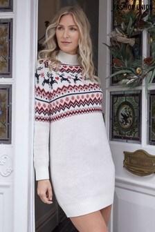 Fashion Union High Neck Reindeer Fairisle Tunic Dress