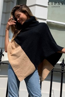 Lipsy Colourblock Cowl Neck Poncho