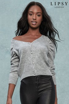 Lipsy Cosy Puff Sleeve V neck Cardigan Top