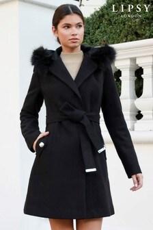 Lipsy Faux Fur Trim Hooded Robe Coat