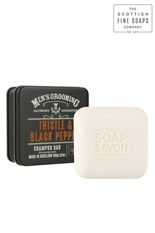 Scottish Fine Soaps Thistle & Black Pepper Shampoo Bar in a Tin 100g