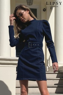 Lipsy Denim Belted Dress