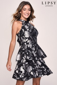 Lipsy Metallic Jacquard Skater Dress