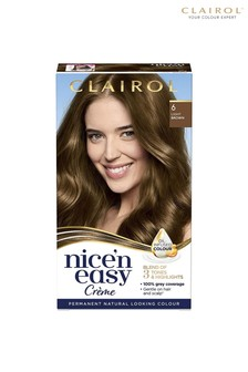 Clairol Nice' n Easy Crème, Natural Looking Oil Infused Permanent Hair Dye, 6 Light Brown 177 ml