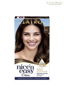 Clairol Nice' n Easy Crème, Natural Looking Oil Infused Permanent Hair Dye, 5 Medium Brown 177 ml