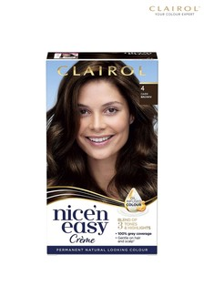 Clairol Nice' n Easy Crème, Natural Looking Oil Infused Permanent Hair Dye, 4 Dark Brown 177 ml