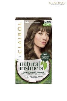 Clairol Natural Instincts Semi-Permanent No Ammonia Vegan Hair Dye, 6A Light Cool Brown, 177 ml