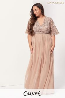 Maya Plus V Neck Delicate Sequin Maxi Dress