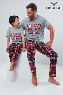 Threadbare Christmas Tee Woven Check Pyjama Set