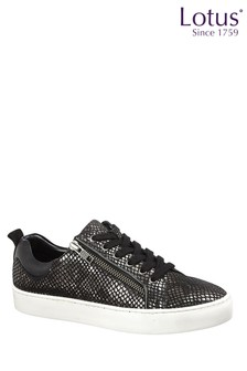 Lotus Footwear Reptile Print Leather Lace-Up Casual Trainers