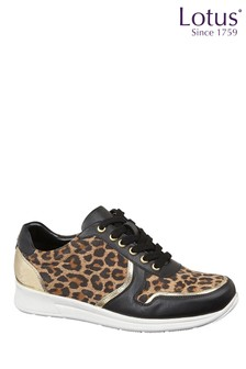 Lotus Footwear Leopard Print Lace-Up Casual Trainers