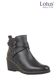 Lotus Footwear Leather Round Toe Ankle Boots