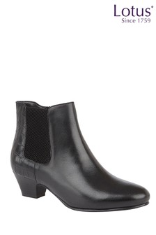 Lotus Footwear Croc Print Leather Ankle Boots