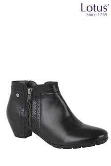 Lotus Footwear Leather Block Heel Boots