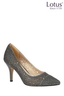 Lotus Shimmer Textile Court Shoes