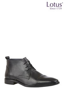 Lotus Leather Lace-Up Boots