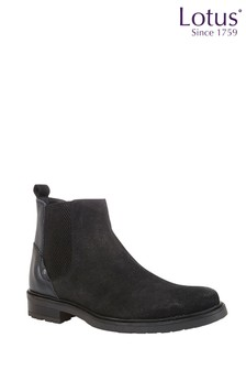 Lotus Footwear Suede and Leather Slip-On Ankle Boots
