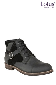 Lotus Leather and Suede Lace-Up Ankle Boots