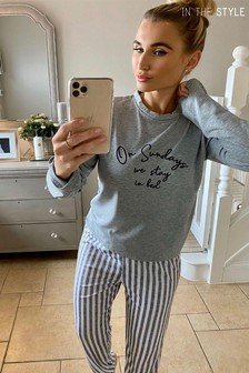 In The Style Billie Faiers 'On Sundays We Stay In Bed' Slogan Long Sleeve Top And Striped Trousers Pyjama Set