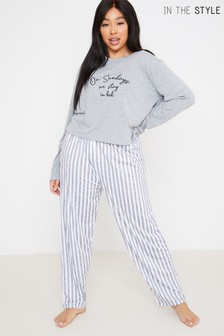 In The Style Curve Billie Faiers 'On Sundays We Stay In Bed' Slogan Long Sleeve Top And Striped Trousers Pyjama Set