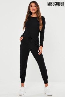 Missguided Rib Long Sleeve Tie Waist Jogger Jumpsuit