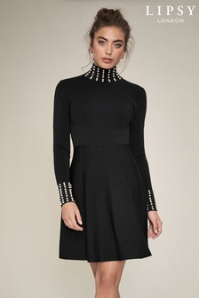 Lipsy Knitted Pearl Neck and Cuff Dress
