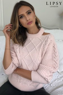 Lipsy Cut Out Shoulder Cable Jumper
