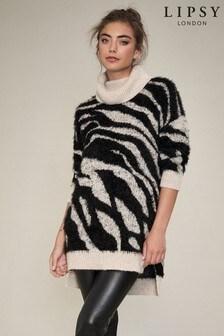 Lipsy Longline Zebra Cowl Neck Jumper