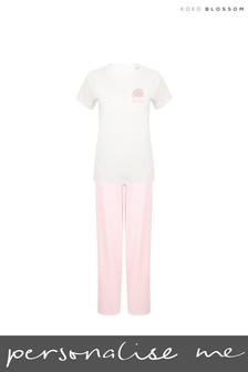 Personalised Pink Rainbow Girls Pyjamas by Koko Blossom