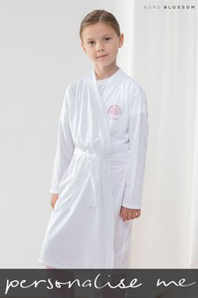 Personalised Pink Rainbow Girls Jersey Dressing Gown by Koko Blossom