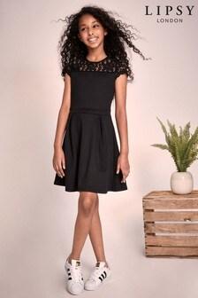 Lipsy Girl Scuba Lace Yoke Dress