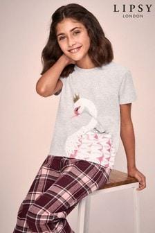 Lipsy Girl Swan Pyjama Set With Check Bottom