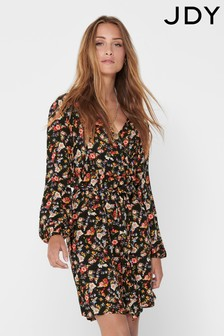 JDY Floral Print Long Sleeve Wrap Dress