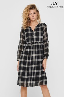 JDY Puff Sleeve Check Smock Dress