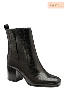 Ravel Croc Print Leather Ankle Boots