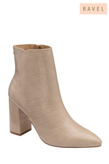 Ravel Croc Print Ankle Boots