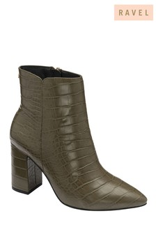 Ravel Croc Print Ankle Boots