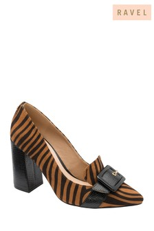 Ravel Printed Block Heel Court Shoes