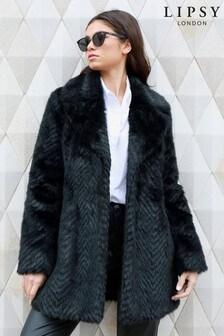 Lipsy Chevron Faux Fur Coat