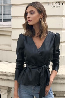 Lipsy Faux Leather Wrap Top