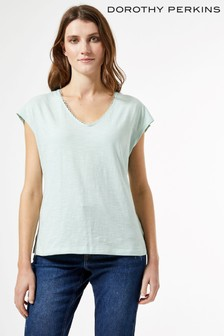 Dorothy Perkins Crochet Back Organic Cotton Tee