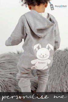 Personalised Organic Cotton Hooded Onesie By Percy & Nell