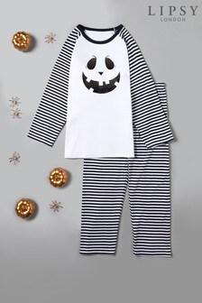 Instajunction Lipsy Halloween Mr Pumpkin Face Toddler and Kid Stripe Long Raglan Sleeve Pyjama Set