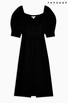 Topshop Puff Sleeve Linen Midi Dress