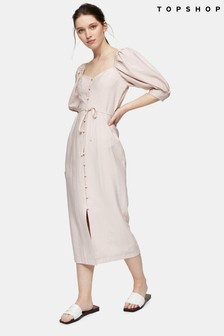 Topshop Puff Sleeve Linen Midi Dress