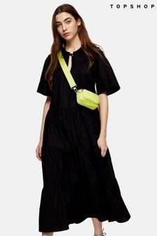 Topshop Poplin Smock Midi Dress