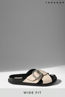 Topshop Wide Fit Pedro Footbed Sandals